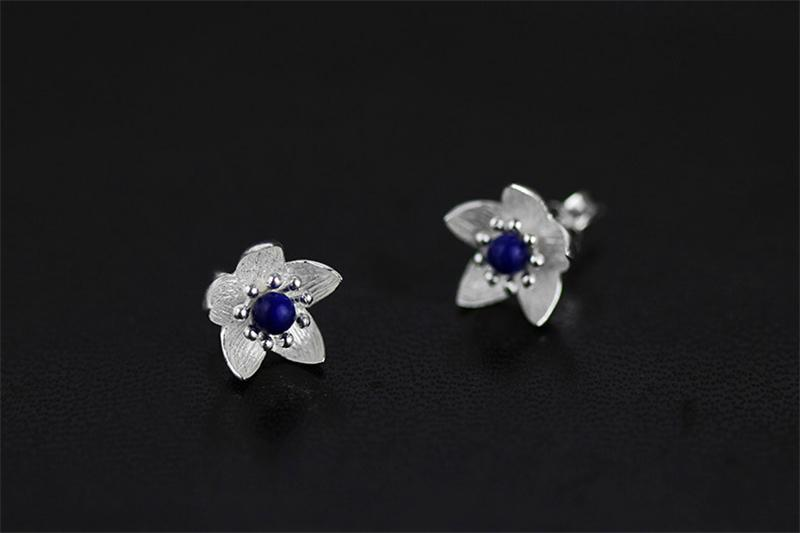 Natural Lapis Fresh Flower Stud Earrings