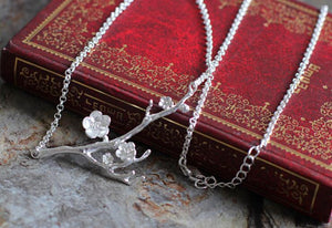 925 Sterling Silver Cherry Blossom Necklace