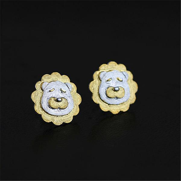 Lovely Tender Lions Stud Earrings for Women