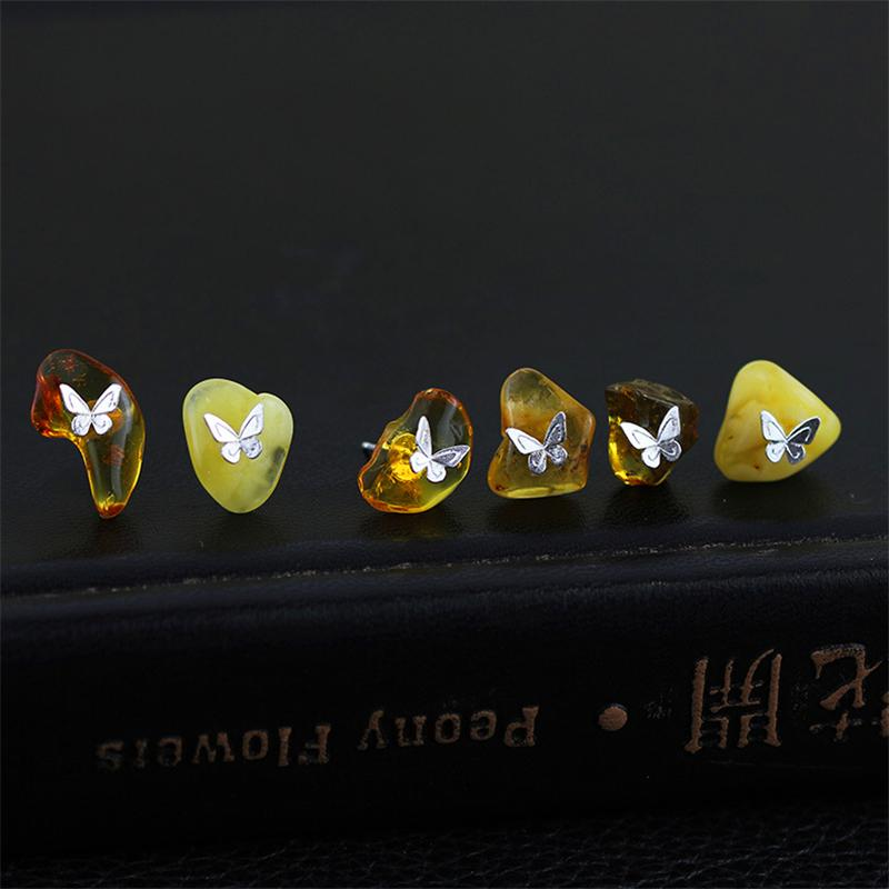 Natural Amber Handmade Butterfly Stud Earrings