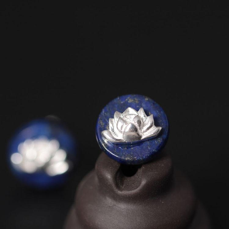 Lapis Lazuli Lotus Flower Stud Earrings