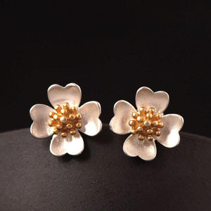 Golden Camellia Flower Stud Earrings