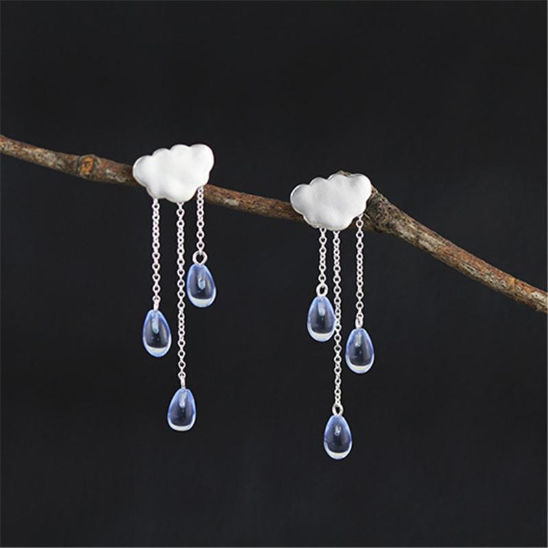Cloud Long Tassel Jewelry Set with Earrings