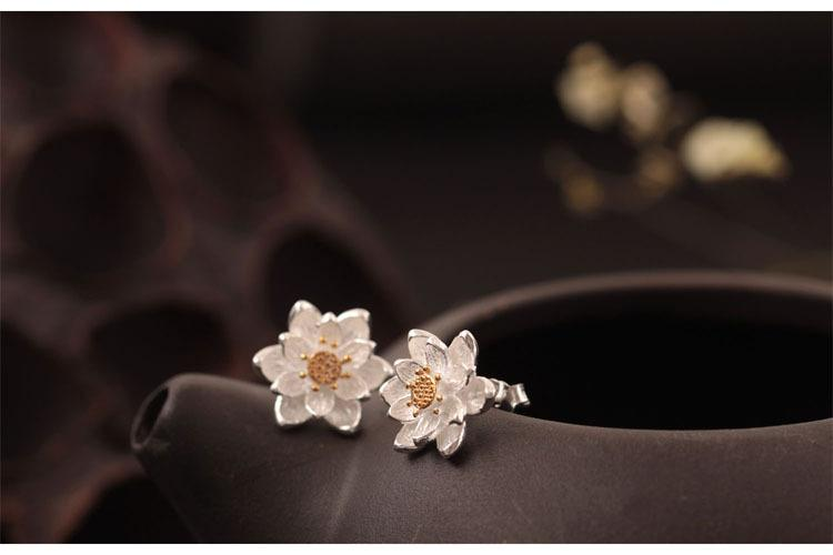 Golden Lotus Flower Stud Earrings