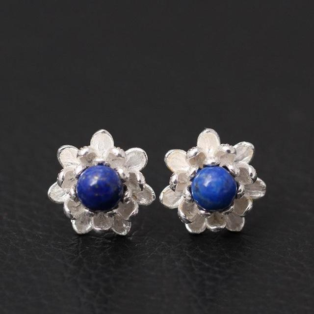 Lapis Lazuli Lotus Flowers Stud Earrings