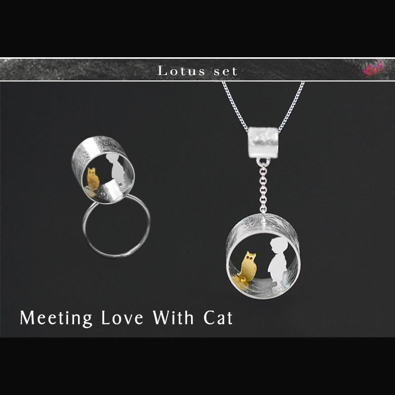 Cute Meeting Love With Cat Jewelry Set