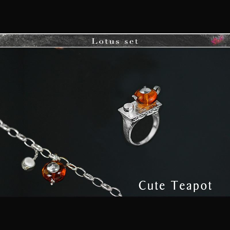 Cute Teapot Jewelry Set with Ring Bracelet