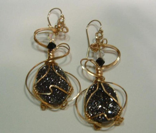 Abruzzo Black Druzy Drop Earrings