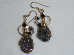 black drruzy earrings
