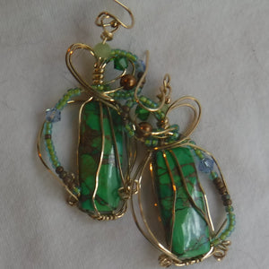 green turquoise in copper matrix