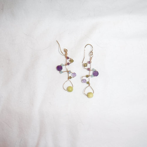 Citrine and purple 'pretzle' earrings