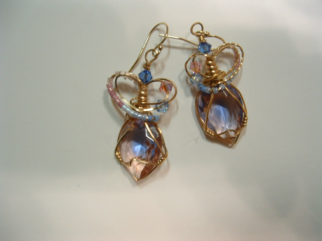 pink with blue slash earrings