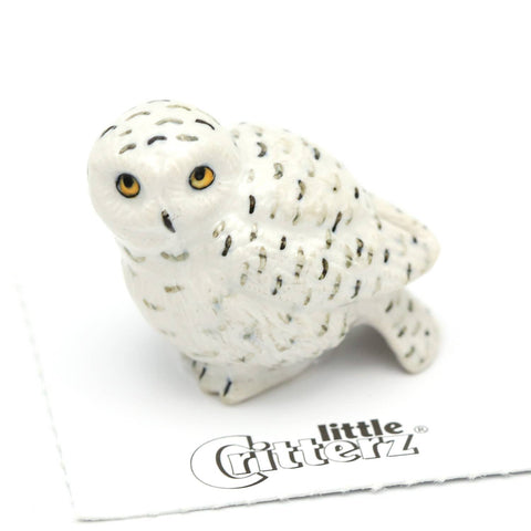 Ghost Snowy Owl Porcelain Miniature
