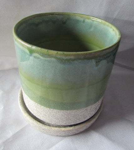 "Green and Gray Shades Ceramic Planter  5"" in diameter and tall"