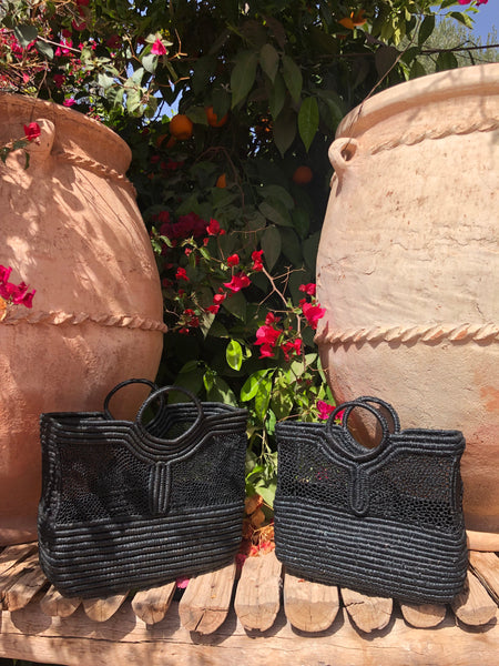 Panier rectangle en Raphia grand modèle noir