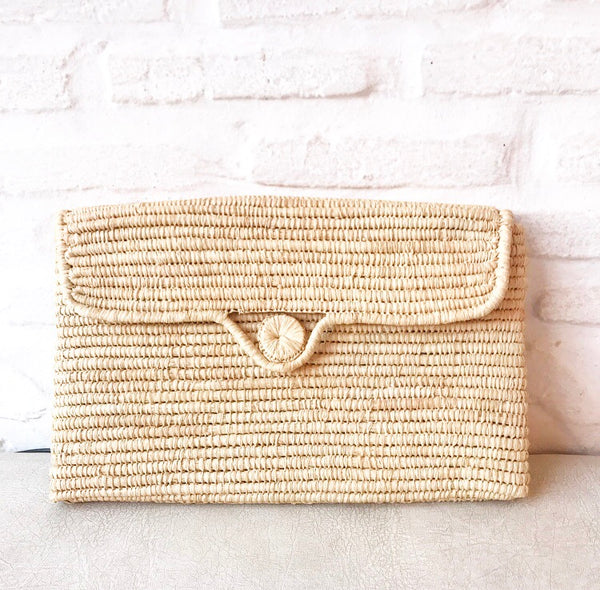 Pochette rectangle en Raphia