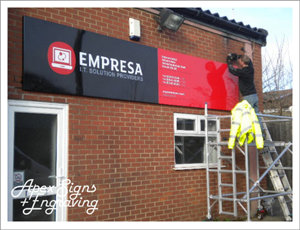 Fascia Sign installation taking place - apex signs & engraving