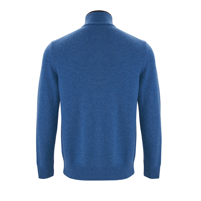 Baltic blue cashmere men's cardigan jumper, with brown alcantara suede trim on collar, back view by Illann Cashmere