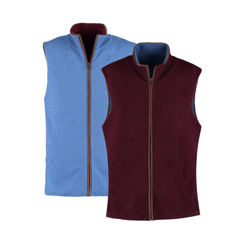 Reversible Gilet - Claret / Denim Both sides