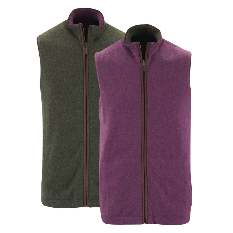 Reversible Gilet - Plum / Dark Olive