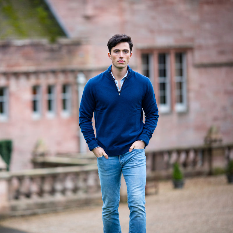 Zip Neck - French Navy Cashmere 2ply on model