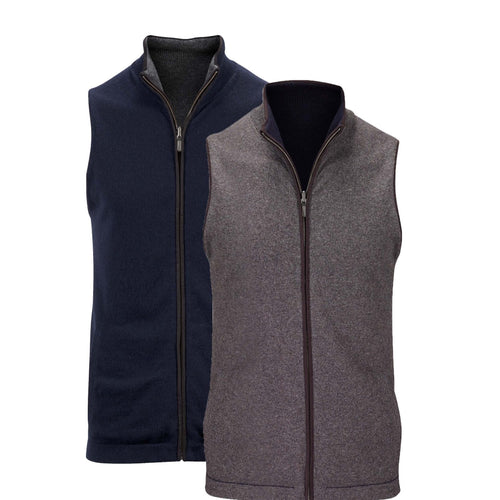 Reversible Gilet- Charcoal / Navy (Black Trim) - IllannMen's Gilet