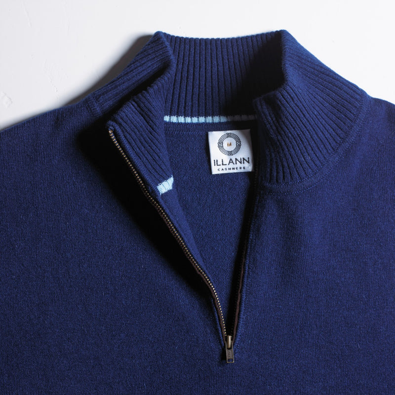 Zip Neck - French Navy Cashmere 2ply close up