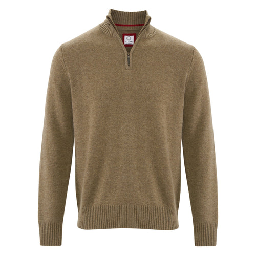 Zip Neck Four ply - Moss - IllannMen's Zip Neck