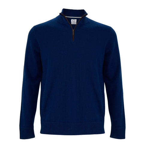 Zip Neck Two ply - Midnight Blue - IllannMen's Zip Neck