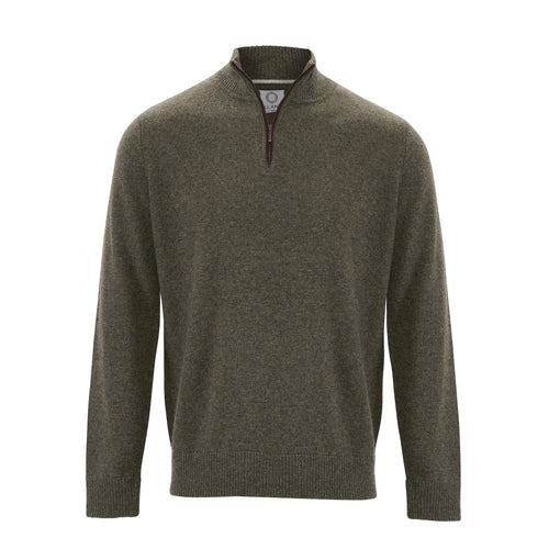 Zip Neck Two ply - Olive - IllannMen's Zip Neck