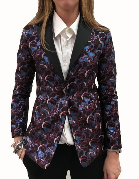 MSGM blazer print metallic black/blue