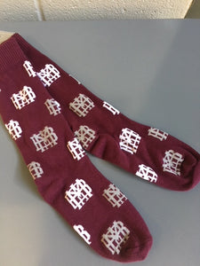 MBA Cardinal Waffle Socks-One Size Fits All