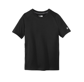 New Era Youth/Adult Performance Black T-shirt with small light gray logo