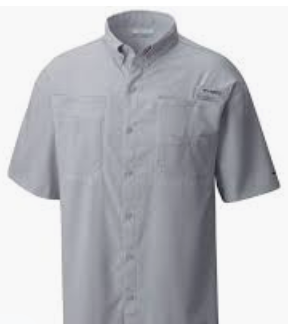 Columbia Cool Gray Fishing Shirt with cardinal MBA logo