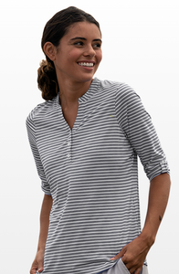 Womens Rivera Gray 3/4 Sleeve Striped Performance Shirt with cardinal logo