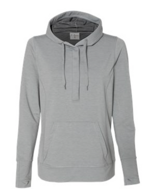 Women's J America Omega Silver Gray Hoodie with embroidered logo