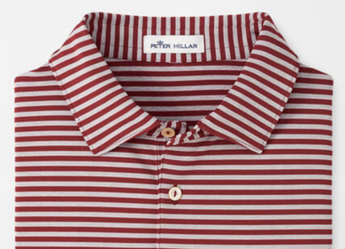 On the way! Peter Millar Adult Mills Stripe Jersey Polo in cardinal and gray