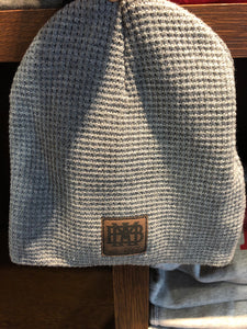 Grey Waffle Knit Beanie/Hat with Leather Patch