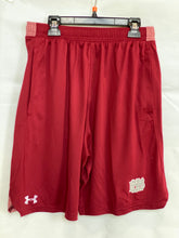 Under Armour Adult Locker Cardinal Short with Gray and White Logo