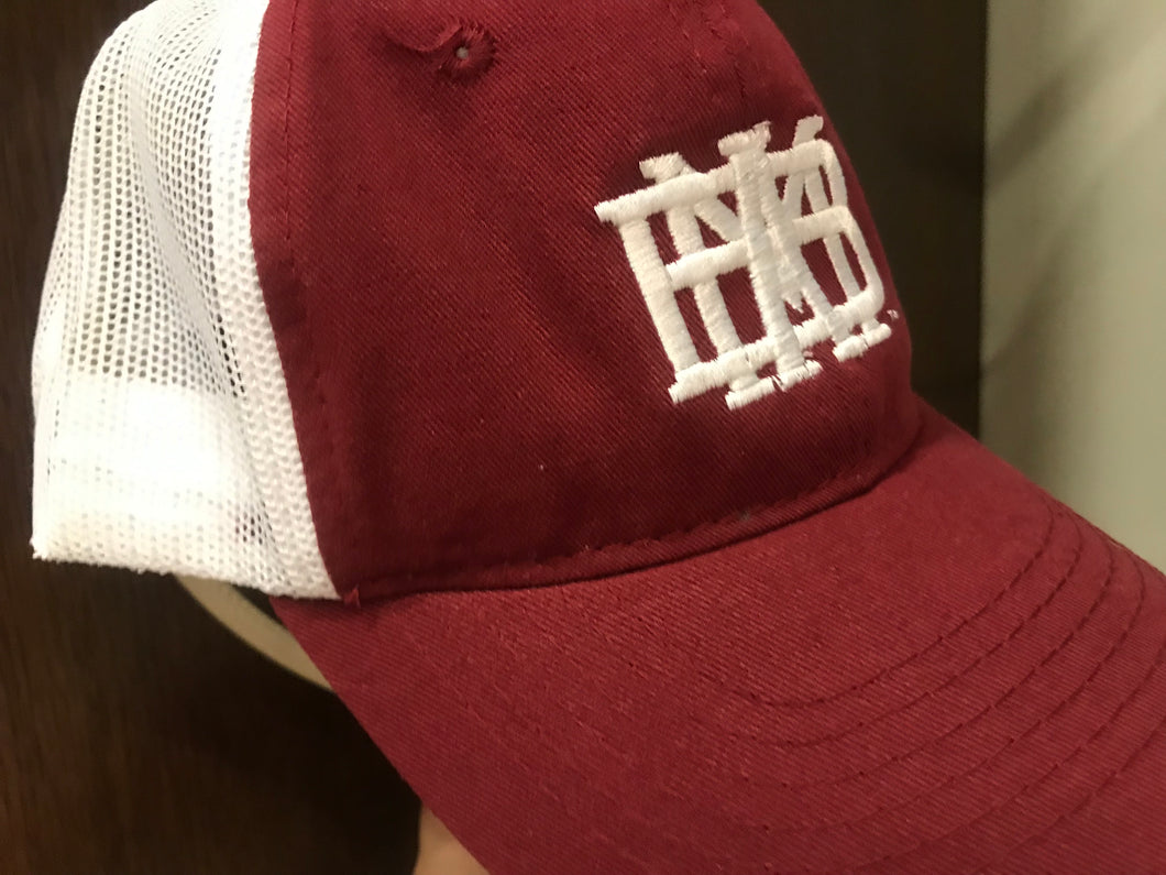 Youth Cap/Hat Cardinal bill with white Mesh back and MBA waffle white