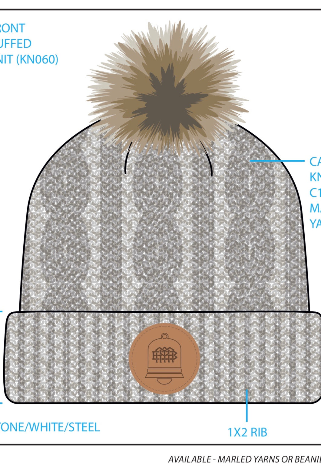 Coming soon! Cuffed Cable Knit Ivory Pom-Pom Beanie with custom leather patch