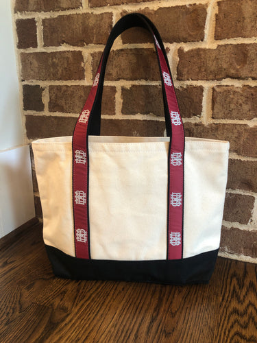 Canvas Tote Bag with MBA waffle ribbon handles