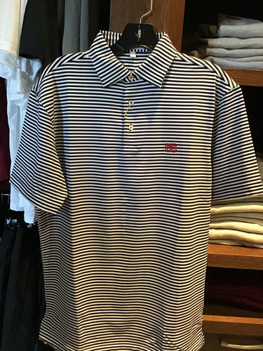 Peter Millar Thick Striped Black/White Striped Polo
