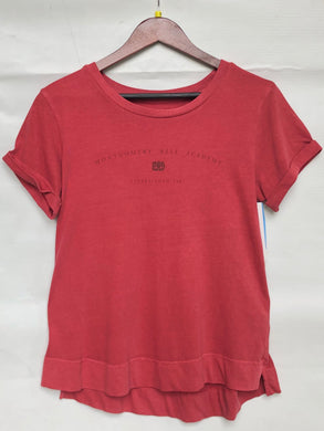 Boxercraft Cuff T-Shirt Washed Crimson Tonal Red Montgomery Bell Academy on front Ladies