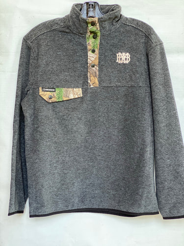 Dri-Duck Dark Gray Fleece Pullover with Real Tree Camo details