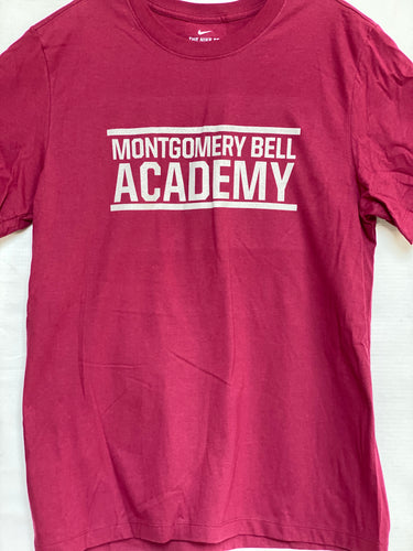 Nike Adult and Youth Cardinal Cotton T-shirt with Montgomery Bell Academy