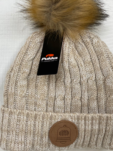 Cuffed Cable Knit Ivory Pom-Pom Beanie with custom leather patch