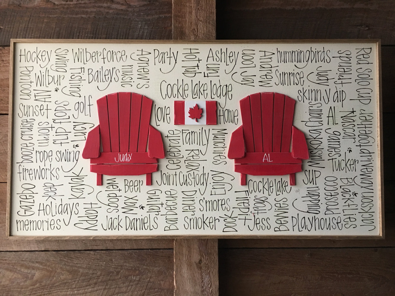 "2 Chairs & More (heart/flag/campfire) 16""x30"""