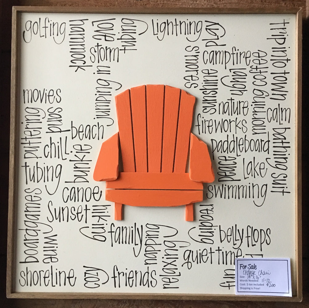 Simple Orange Muskoka Chair - needs 10 Words