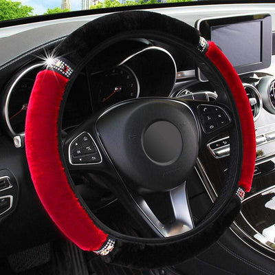 StructuredShop 200000490 Top-Luxury Steering Wheel Covers Black Red
